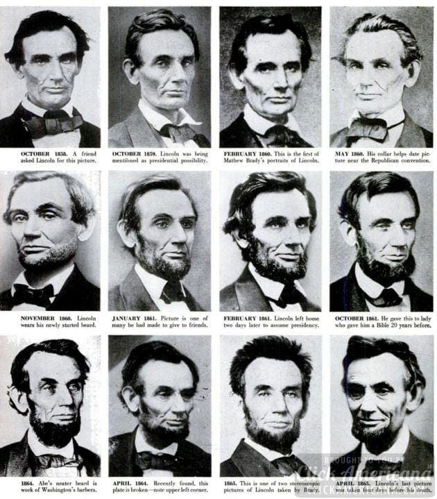 Expert puts Lincoln photographs in correct order (1955)