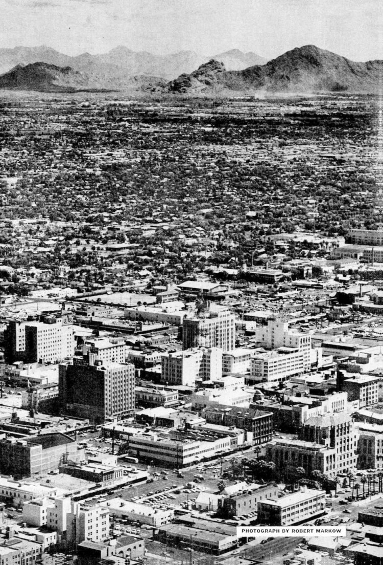 Phoenix, Arizona in 1957 - plane view