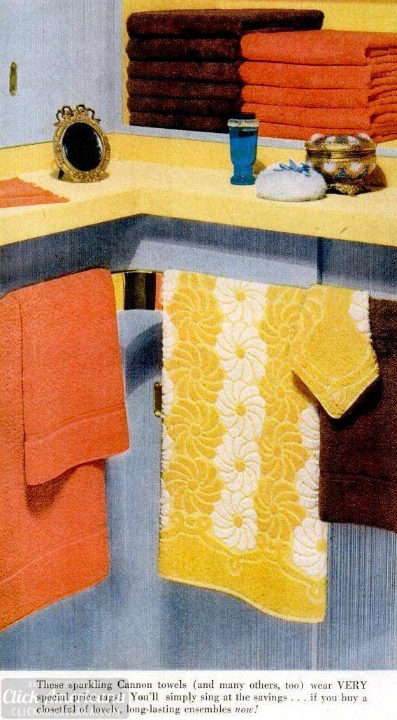 Retro bath towel styles of the 1950s