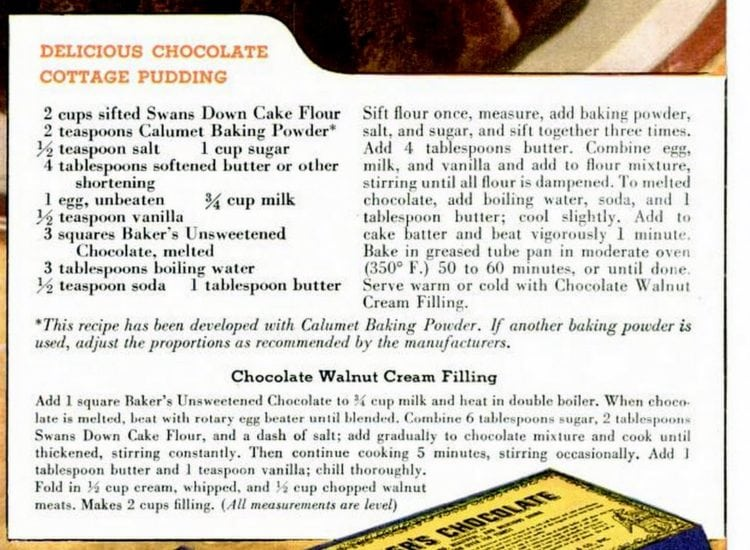 Chocolate cottage pudding cake recipes