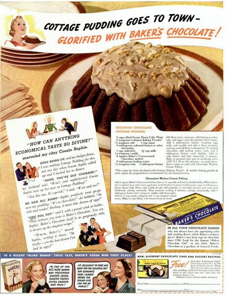 Chocolate cottage pudding cake (1939)