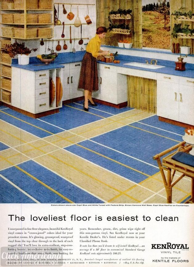 Vintage home style vinyl floor tile 1950s click americana for 1950s kitchen floor