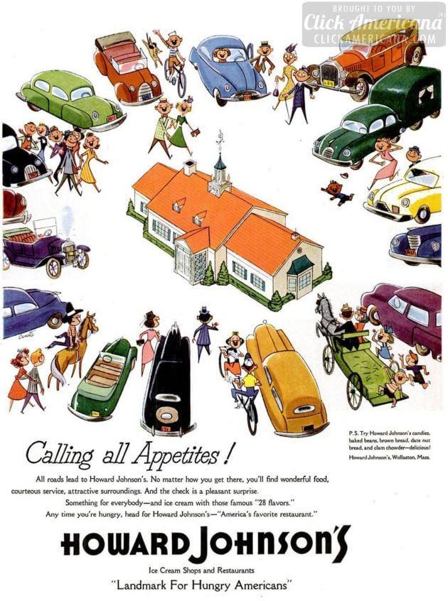 Howard Johnson's ice cream shops & restaurants in the 1950s