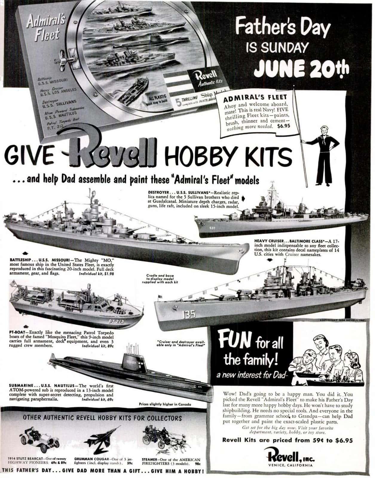 LIFE Jun 14, 1954 Revell hobby kids - Model building
