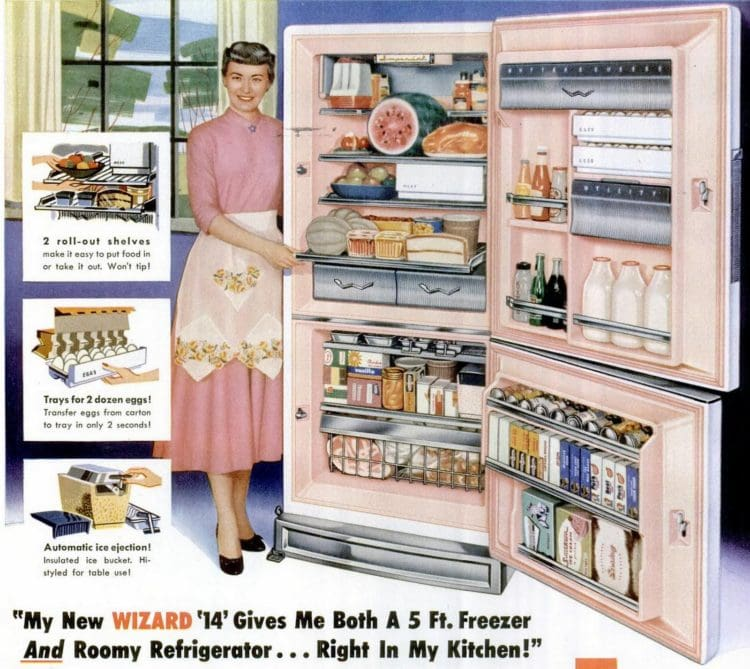 LIFE Jun 16, 1958 Lady kitchen fridge