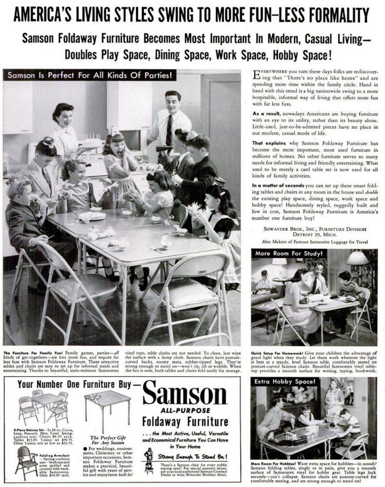 LIFE Mar 10, 1952 folding tables