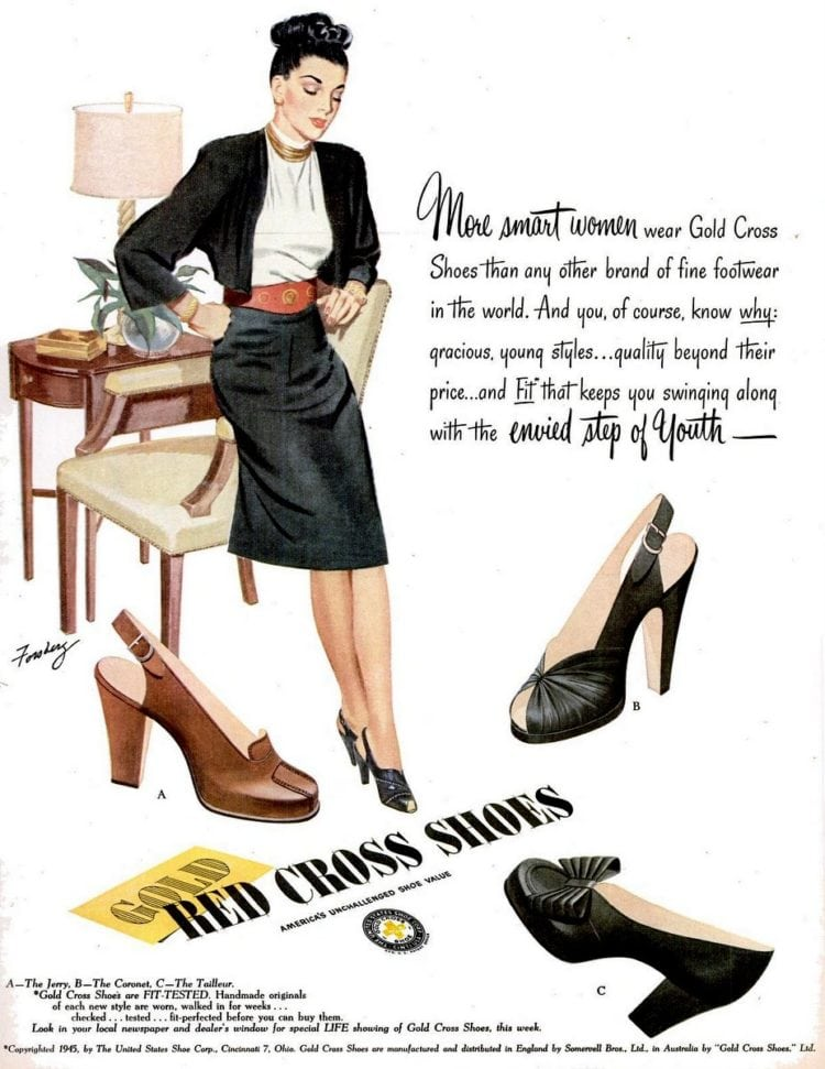 More smart women wear Gold Cross shoes (1947)