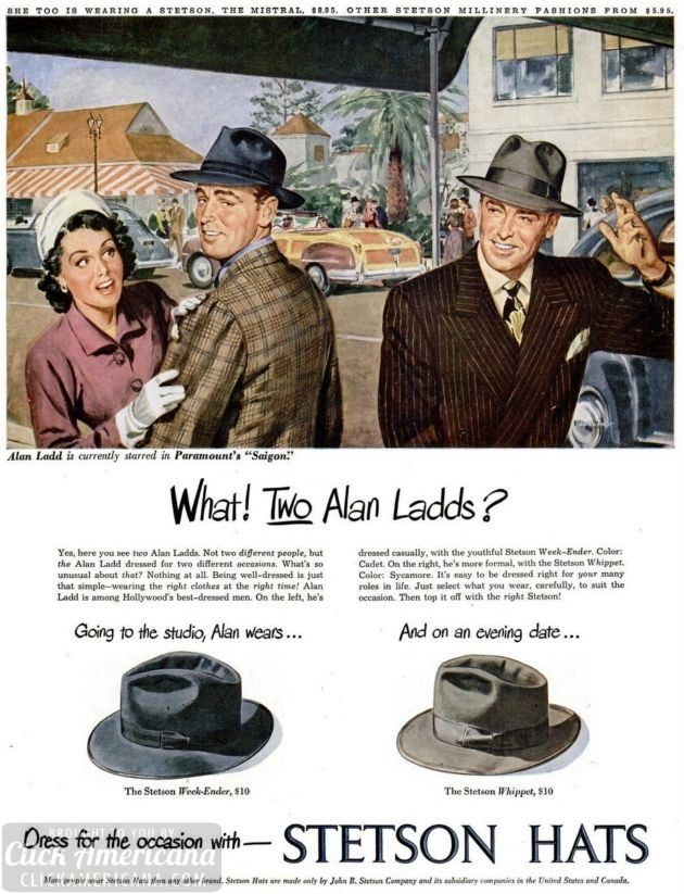 Stetson Hats with celebrity actor Alan Ladd