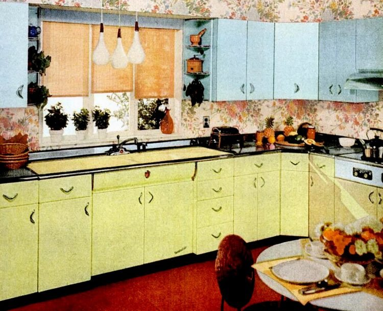 Retro yellow kitchens - Yellow and blue kitchen colors
