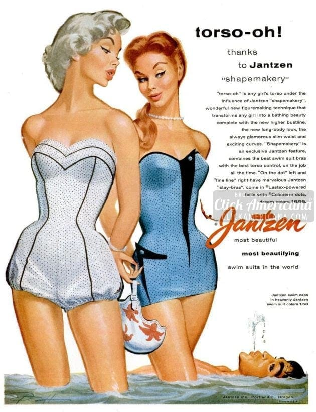 Smart summery swimsuits for women (1955)