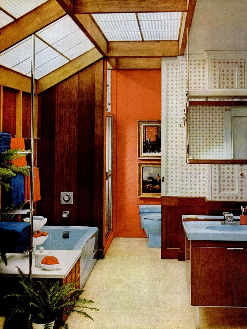 Wood paneling plus wallpaper, with vintage '60s bathtub from 1963