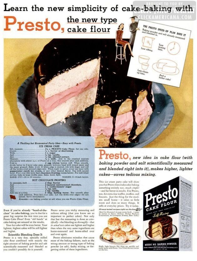 Ice cream cake & hot chocolate frosting (1941)