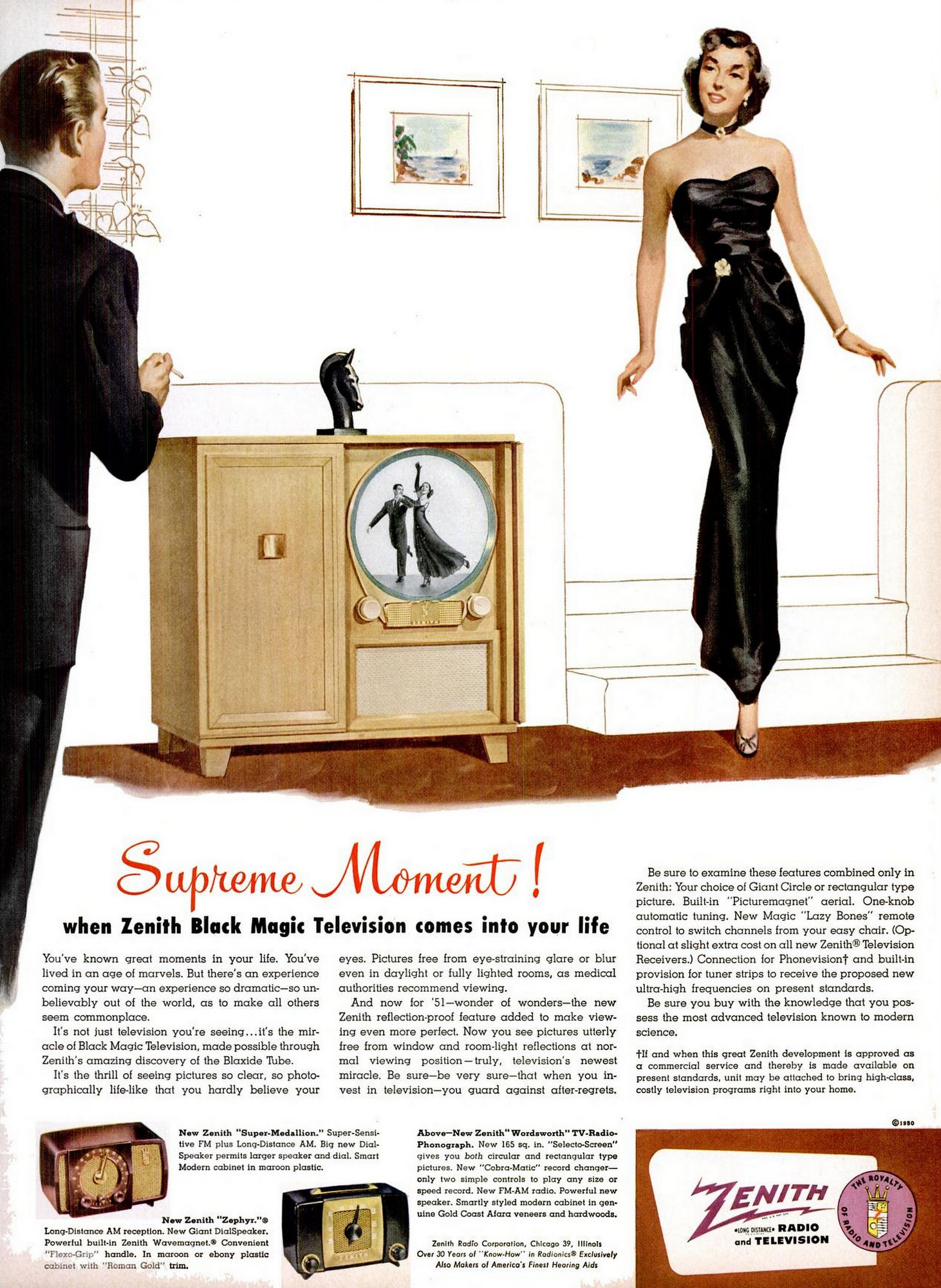 LIFE Nov 27, 1950 Zenith Black Magic TV with round screen