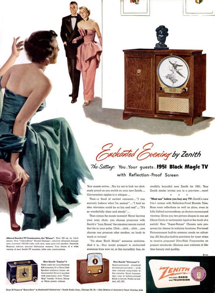 LIFE Nov 6, 1950 Zenith Black Magic round TV set