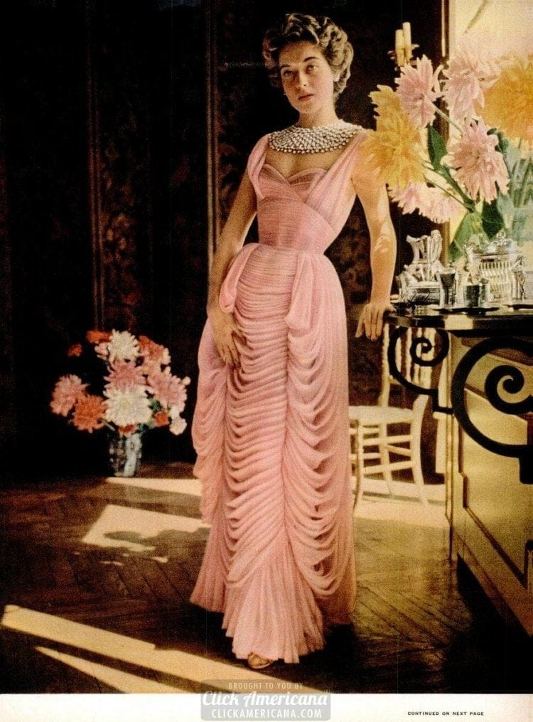 Ball gowns from French fashion designers Elsa Schiaparelli and Jean Desses