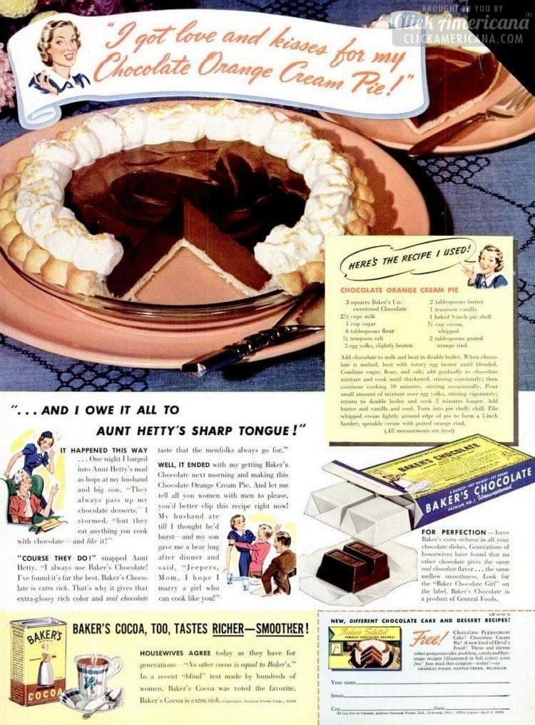 Chocolate orange cream pie recipe (1938)