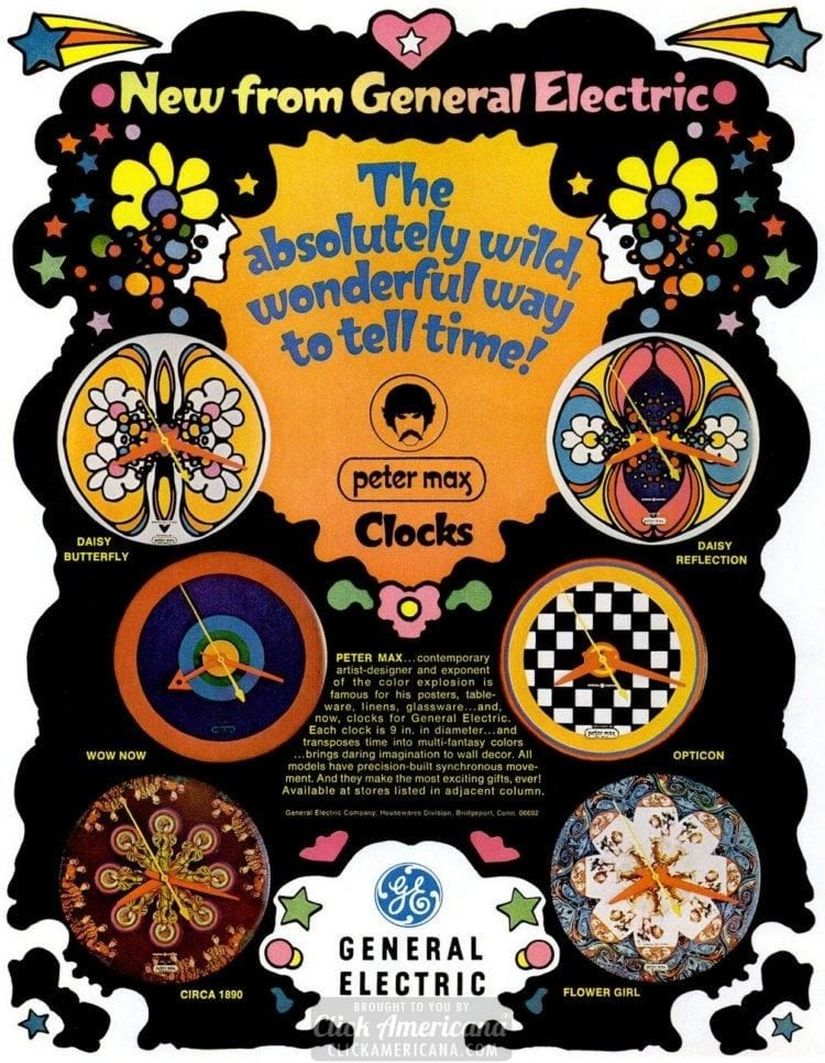New from General Electric: Peter Max Clocks