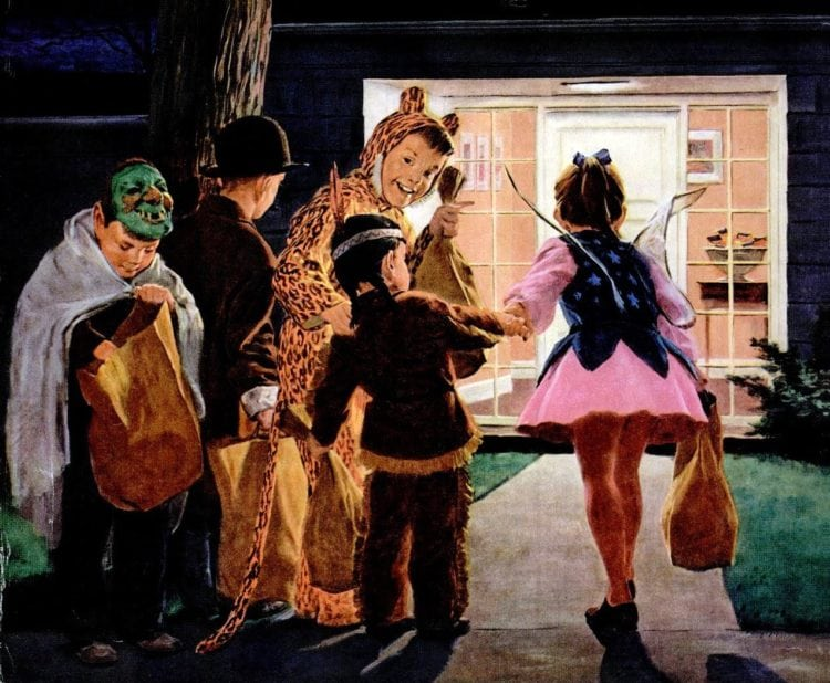 1959 Halloween Trick or treaters - kids with candy outside house at night