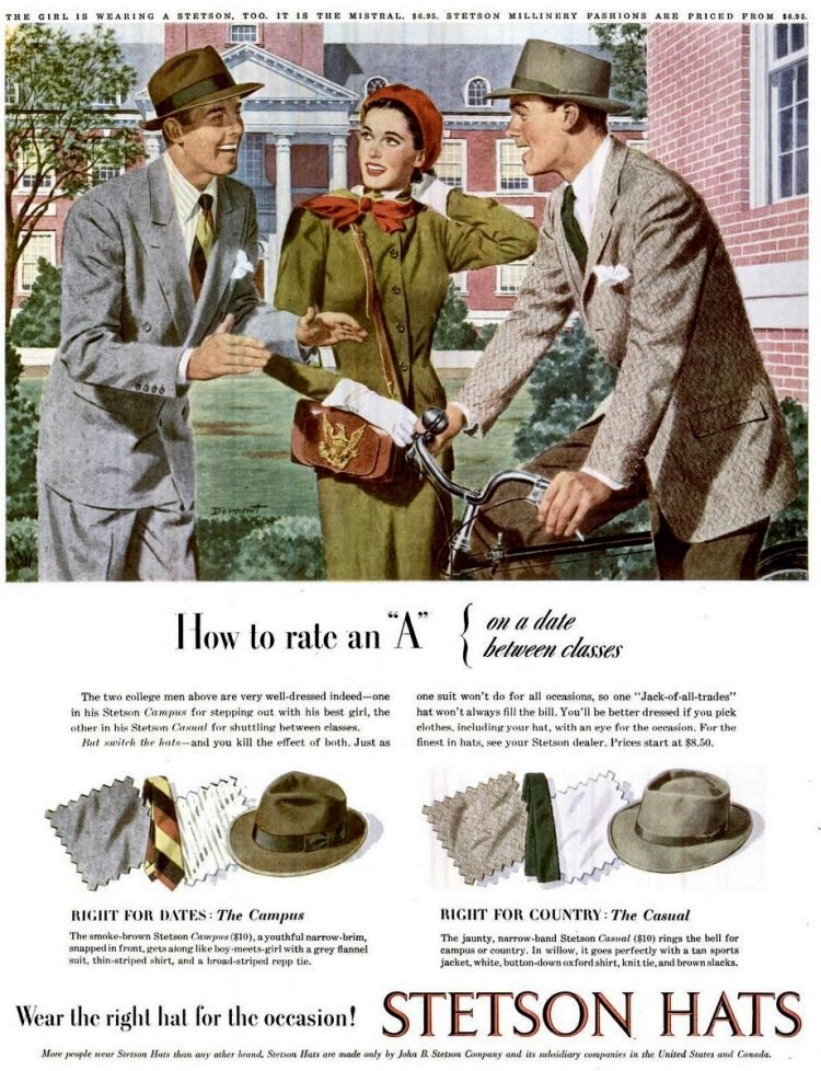 LIFE Oct 6, 1947 stetson hats