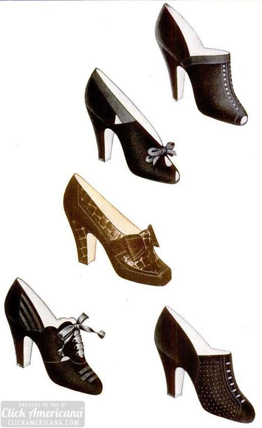 Stylish vintage women's shoes from 1940