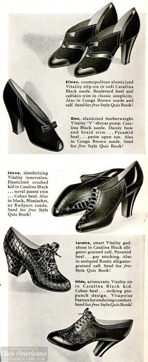 Vintage suede shoes - classic high heels for women - 1940
