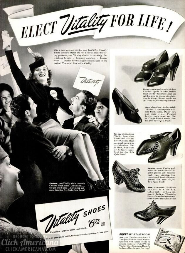 Shoe styles from the forties