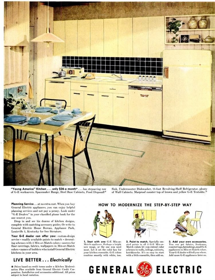 LIFE Sep 17, 1956 ge yellow kitchen