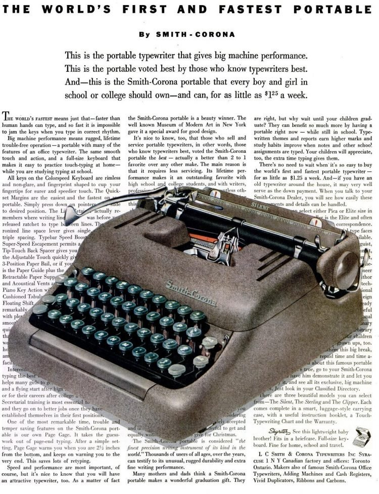 LIFE Sep 21, 1953 Typewriter