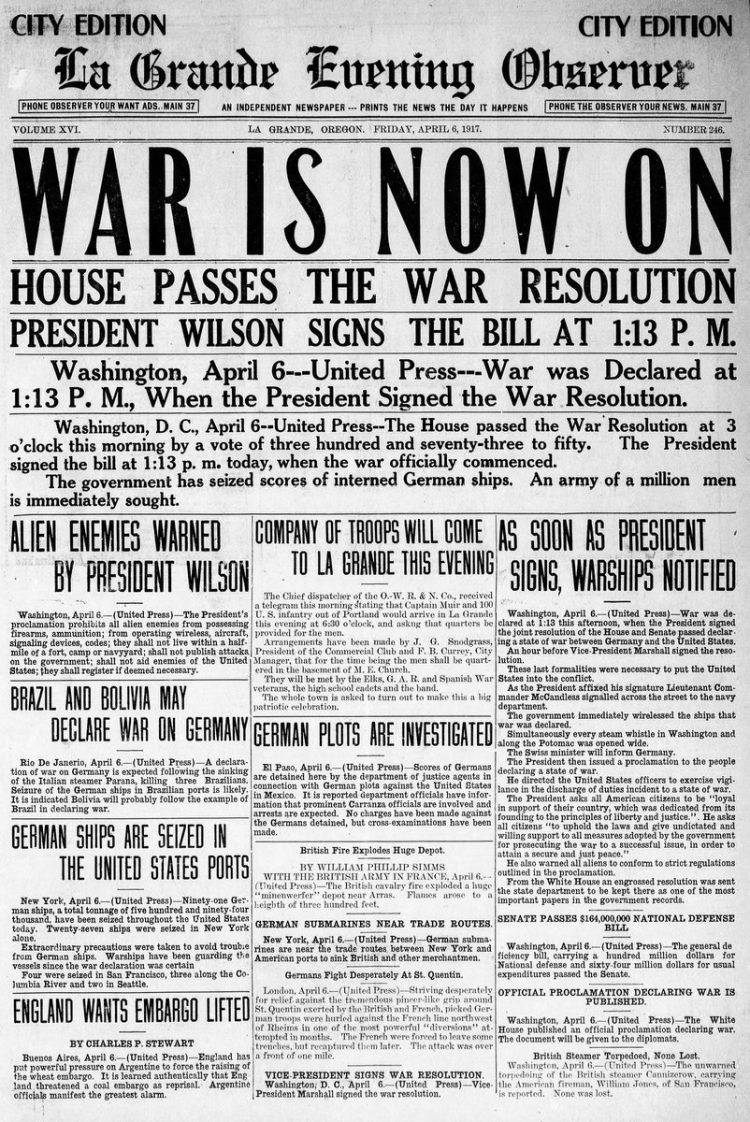 La Grande Observer newspaper front page - US in World War I - April 1917