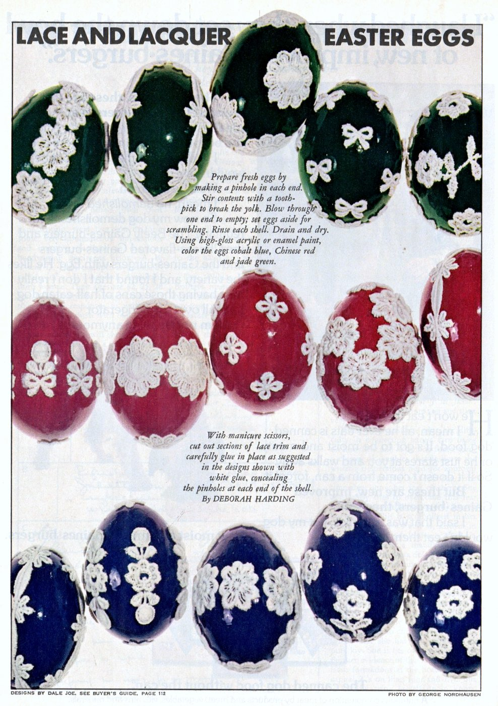 Lace and lacquer Easter egg crafts (1975)