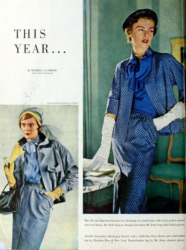 1950s spring fashions for women - silk suit and box jacket for women