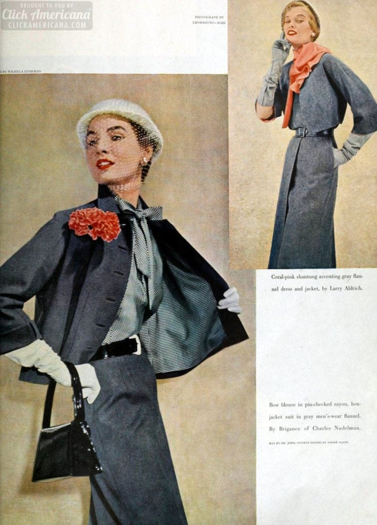Coral pink accents and bow blouse new for womenswear in 1950