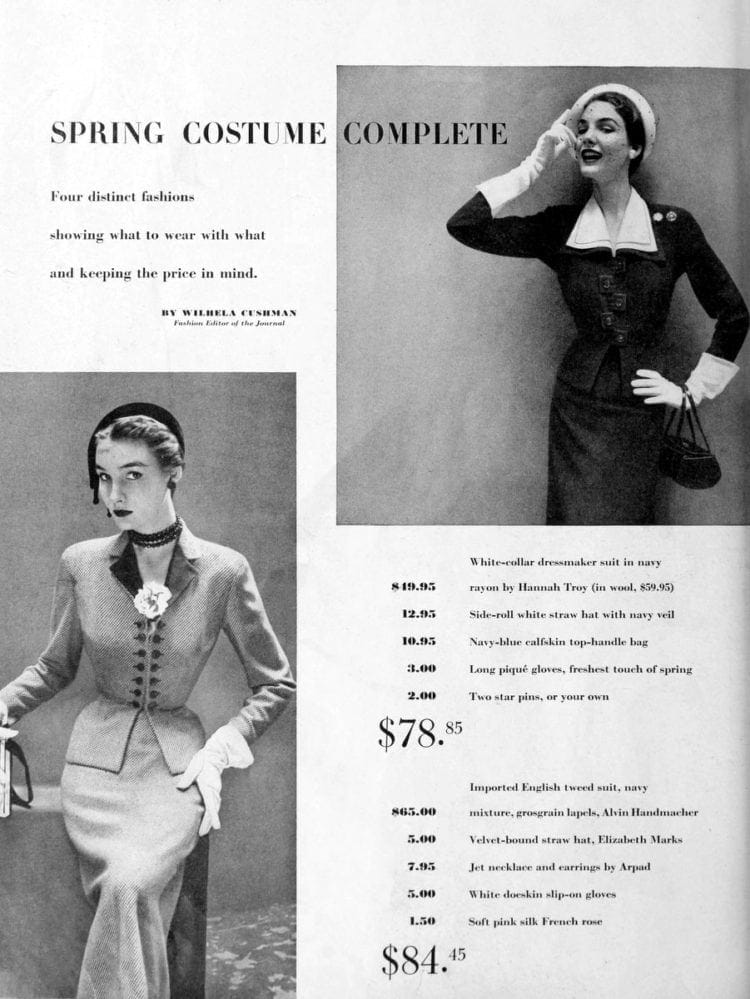 Four distinct 1950s spring fashions for women showing what to wear with what