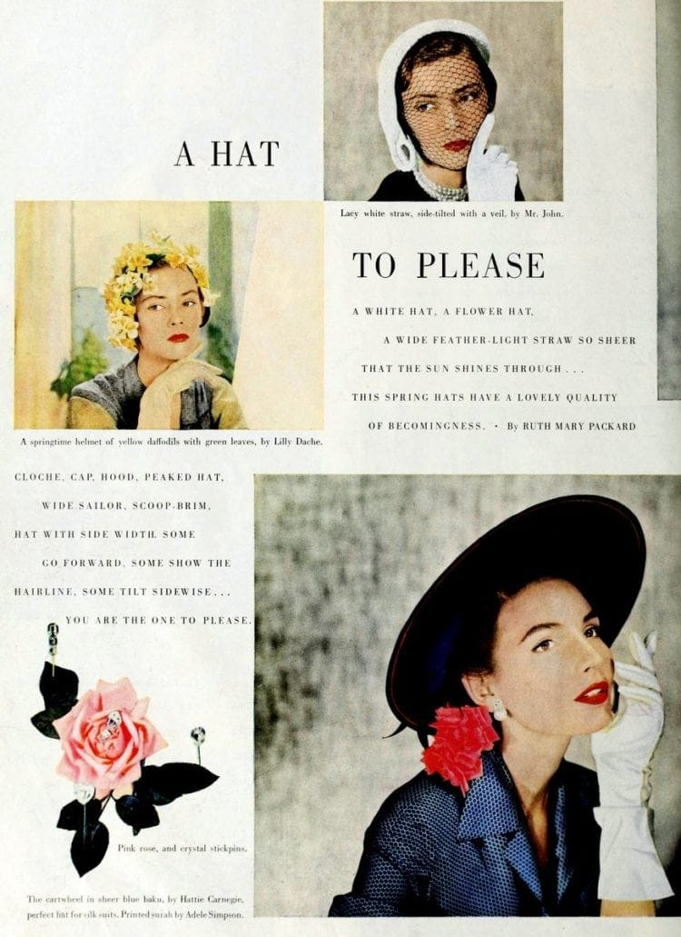 Hats for ladies from 1950