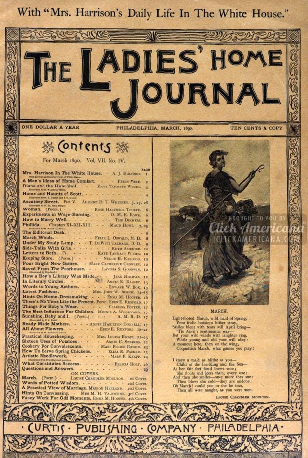 Antique Ladies' Home Journal magazine covers (1890)