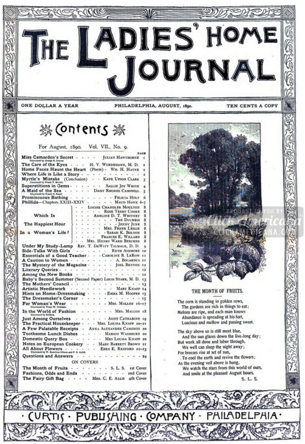 Antique Ladies Home Journal Magazine Covers 1890