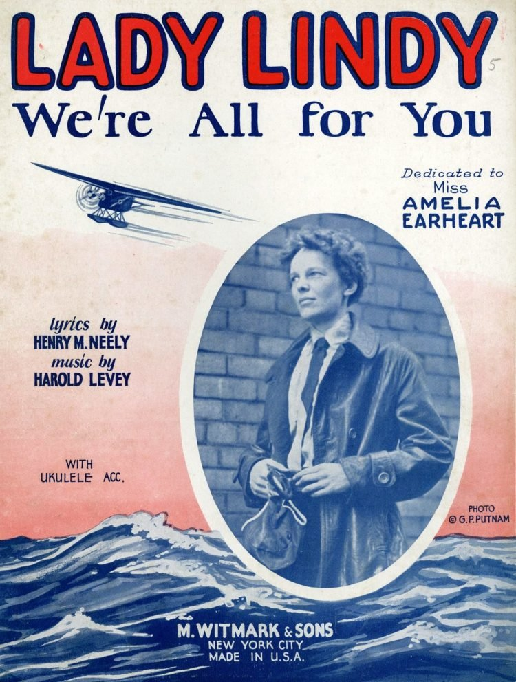 Lady Lindy song about Amelia Earhart - Vintage sheet music