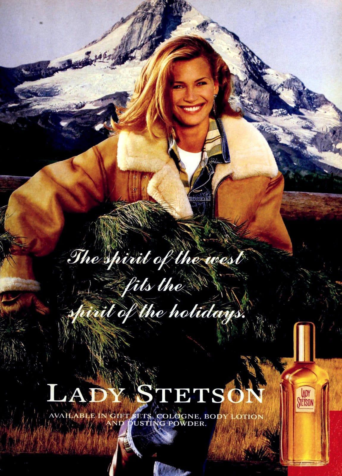 Lady Stetson perfume - Vintage ad with actress Natasha Henstridge (1993) at ClickAmericana.com