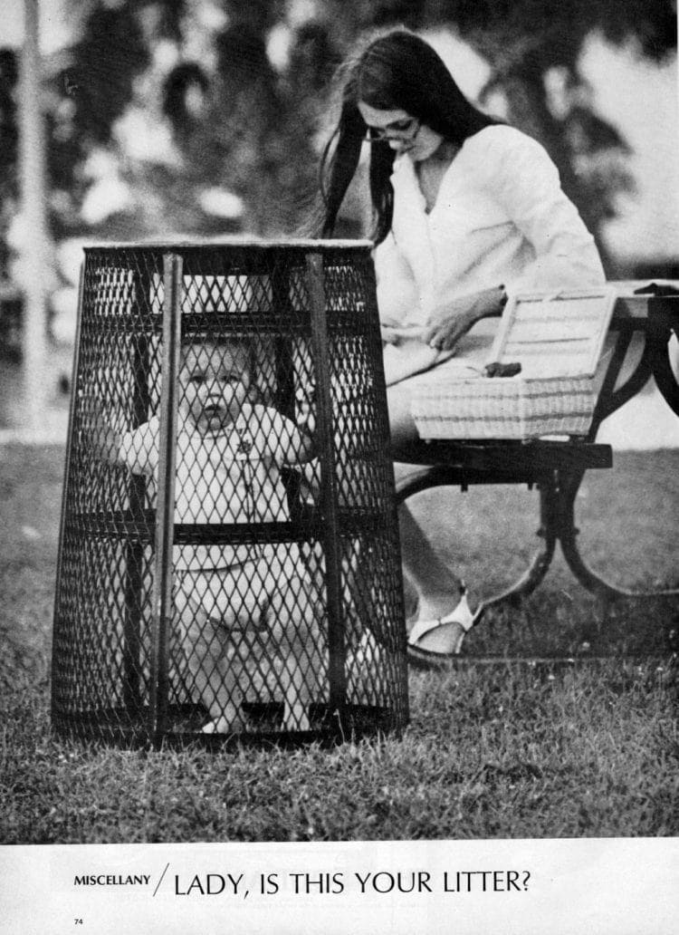 Lady, is this your litter A bizarre park baby cage photo (1969)