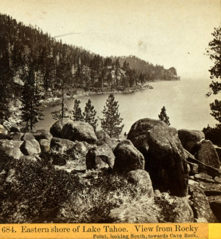 Lake Tahoe 1800s - Rocky Point, looking South, towards Cave Rock