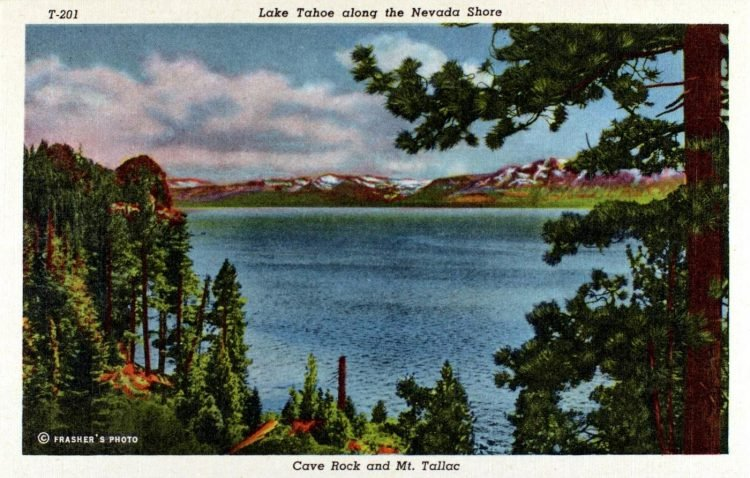 Lake Tahoe along the Nevada Shore Cave Rock and Mt. Tallac - Vintage postcard 1941