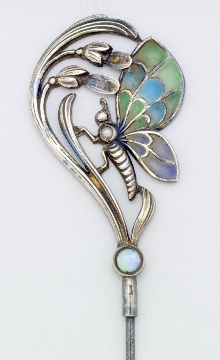 Lalique style butterfly stick pin antique jewelry