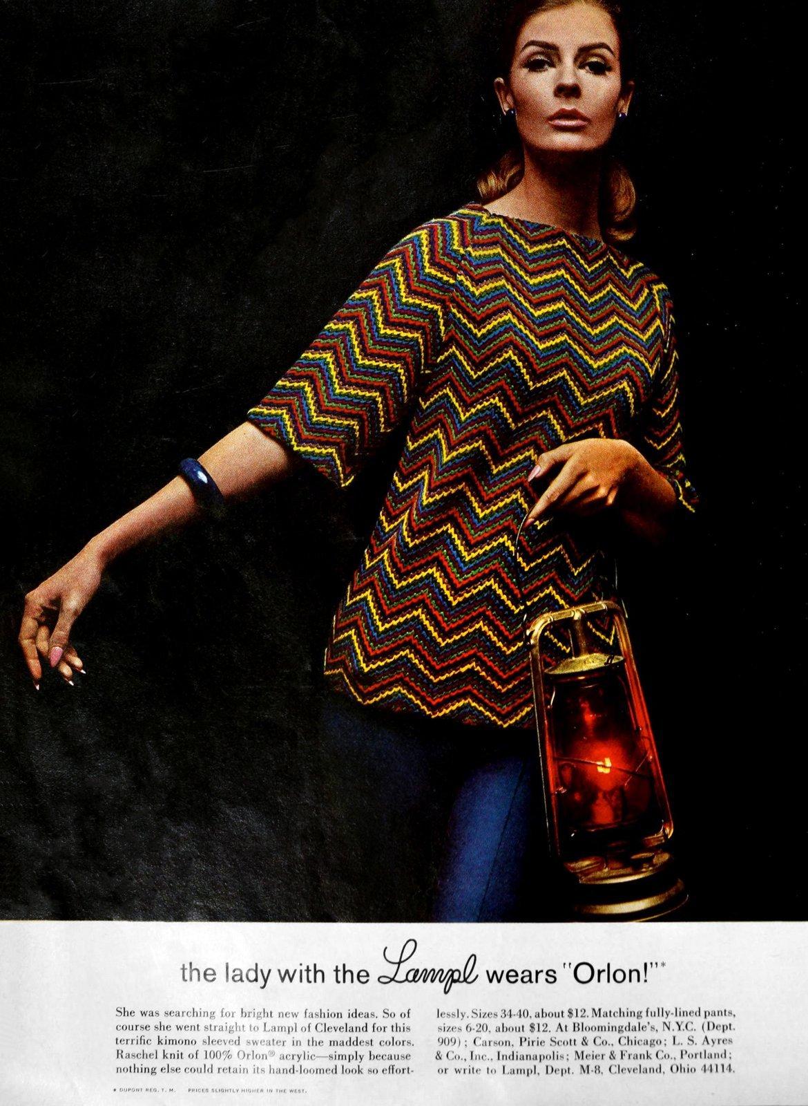 Lampl Orlon zig-zag striped sweater in primary colors (1965)