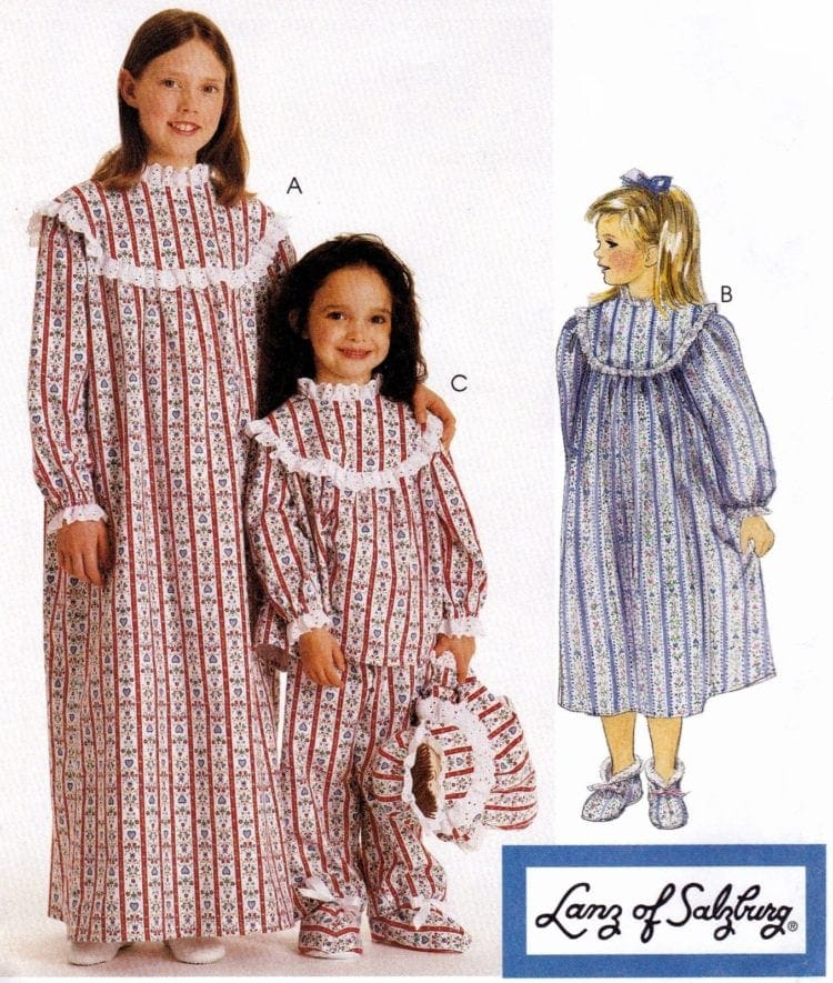 Lanz of Salsburg flannel nightgowns for girls pattern 8330