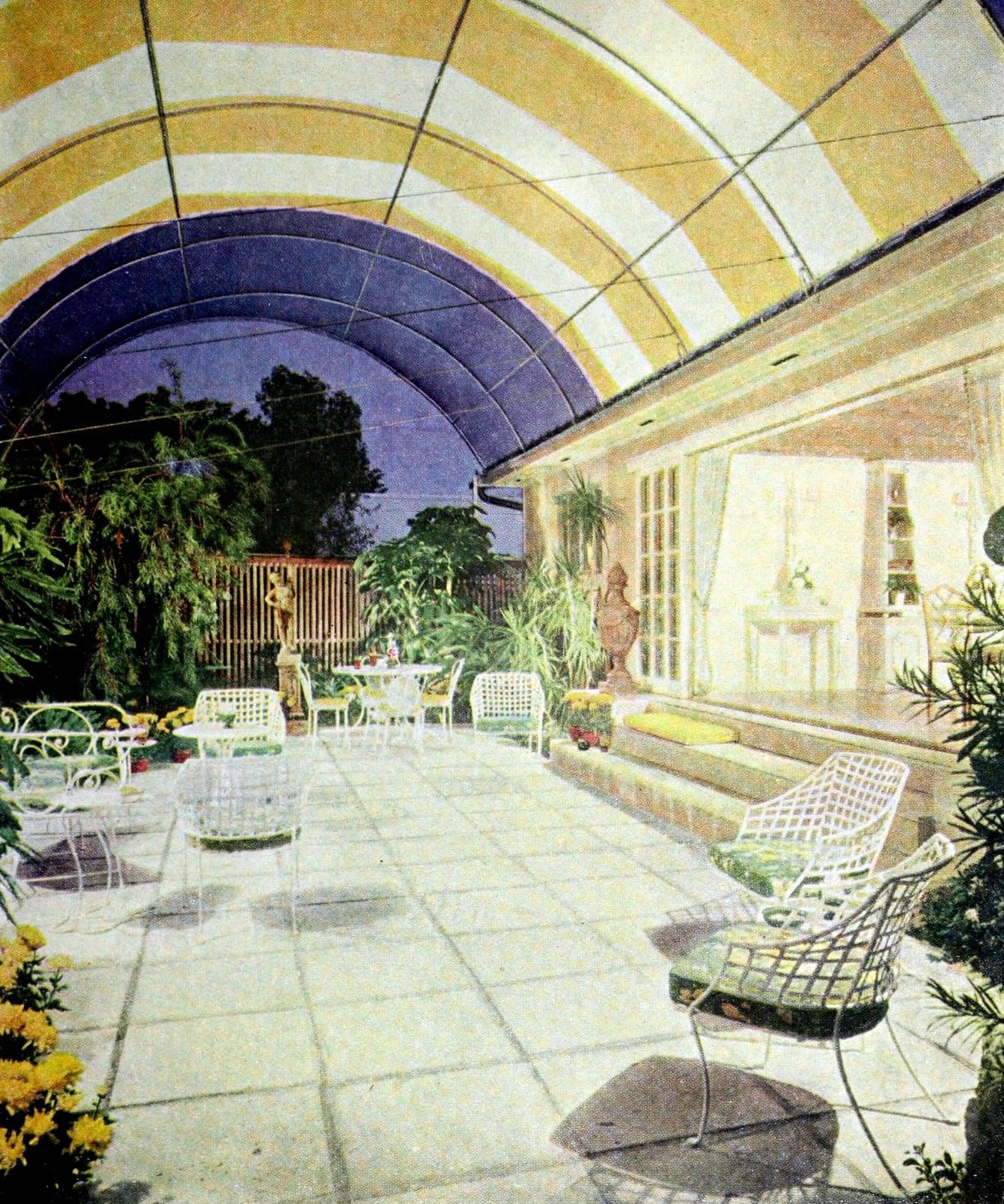 Large yellow and white canvas dome over the garden (1961)