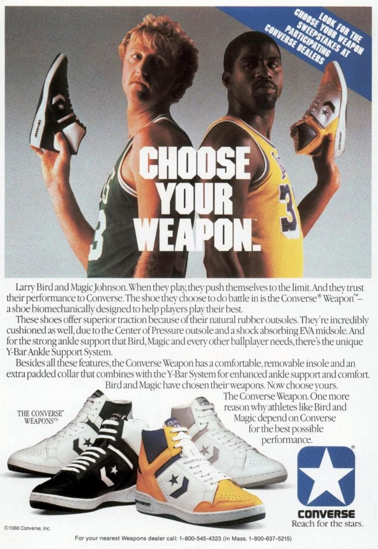 Larry Bird and Magic Johnson - Converse basketball shoes from 1978