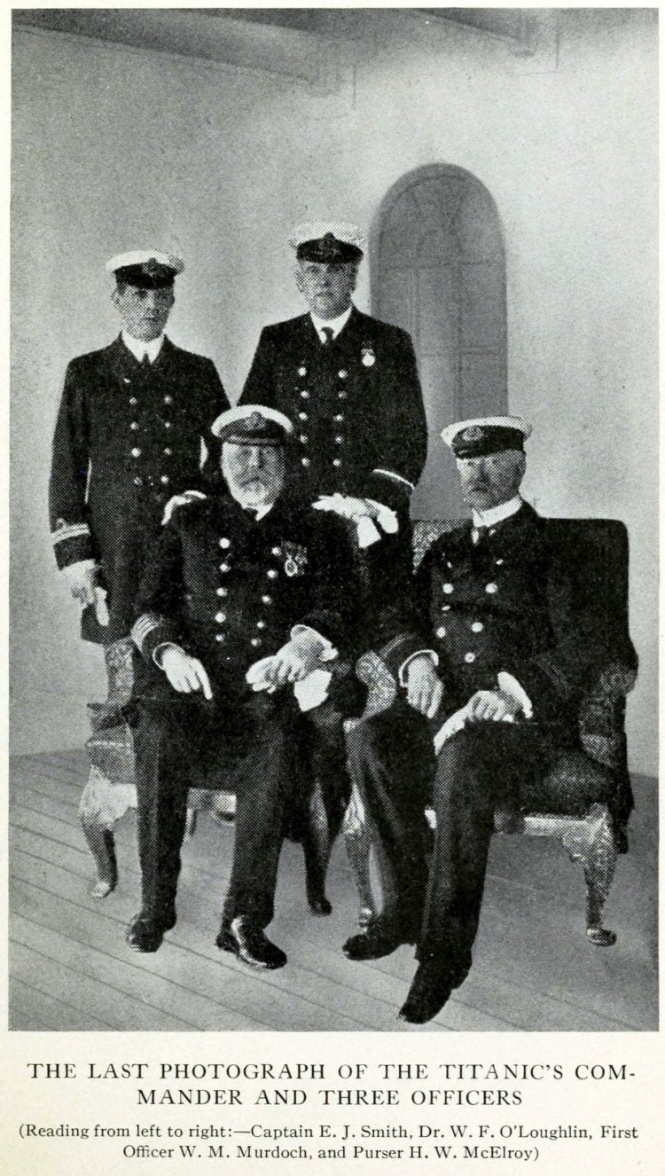 Last photo of the Titanic commander and three officers