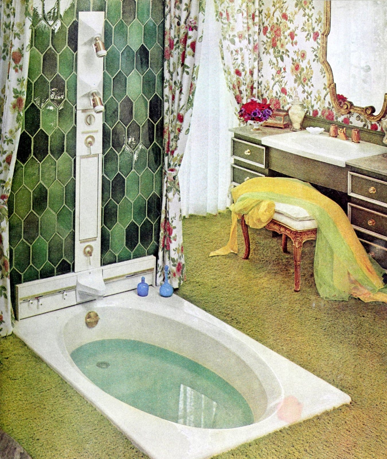 Late sixties bathroom design with tiled shower wall over bath (1969)