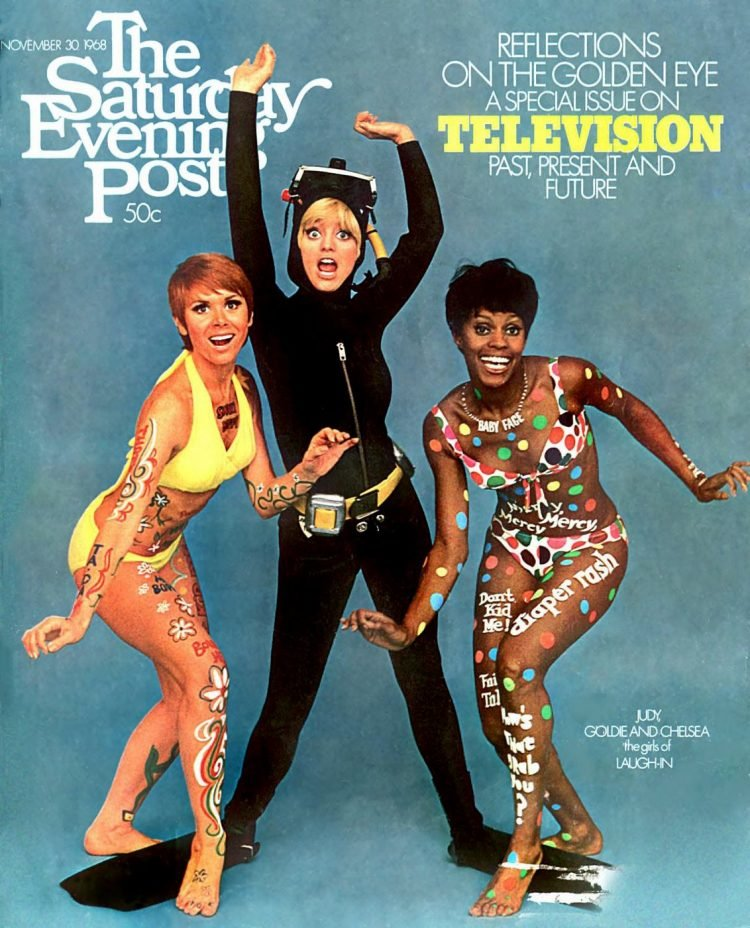 Laugh-In women on Saturday Evening Post cover 1968