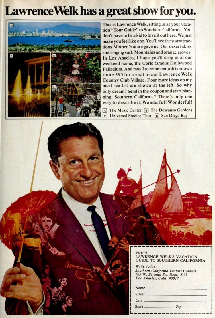 Lawrence Welk in Southern California - tourism from 1969